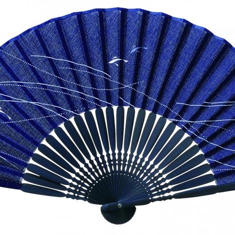 扇子 清流【紺】扇袋セット 3017S