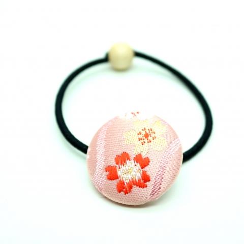 西陣織金襴ヘアゴム【立涌に彩り桜・薄ピンク】※クリックポスト利用可