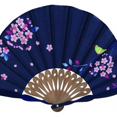 扇子 メジロ桜【紺】扇袋セット 6620S