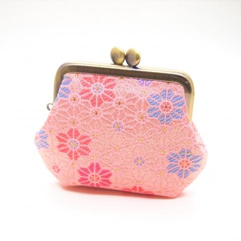 金襴 角型がま口【麻の葉づくし・薄ピンク】