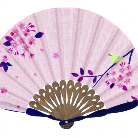 扇子 メジロ桜【ピンク】扇袋セット 6619S