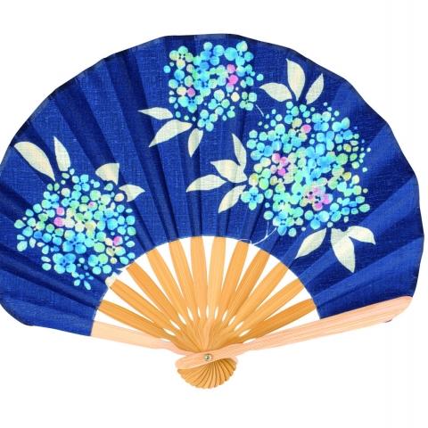扇子 あじさい【紺】扇袋セット 1027S