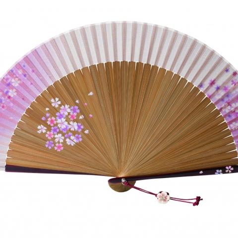 扇子 桜かすみ【ピンク】扇袋セット 1364S