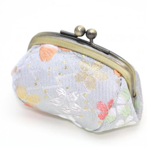金襴 ボストンがま口【松皮菱紋に桜・銀鼠】