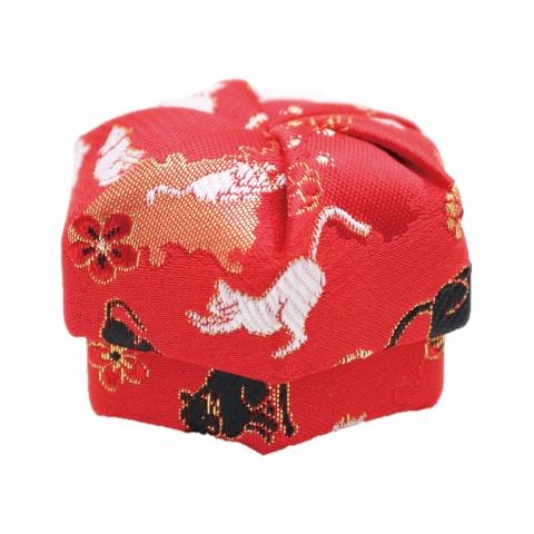 ねじり箱【雪輪にネコ・赤】