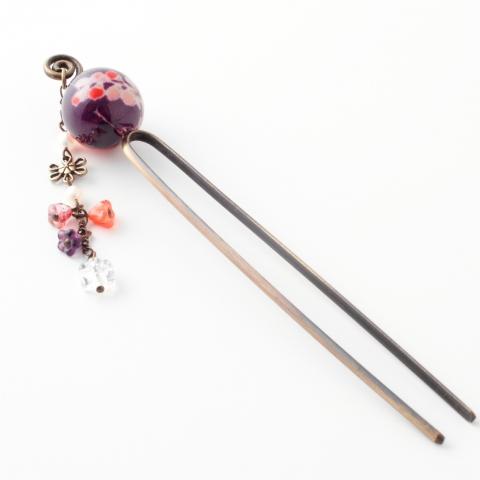 玉かんざし【大輪菊/紫】