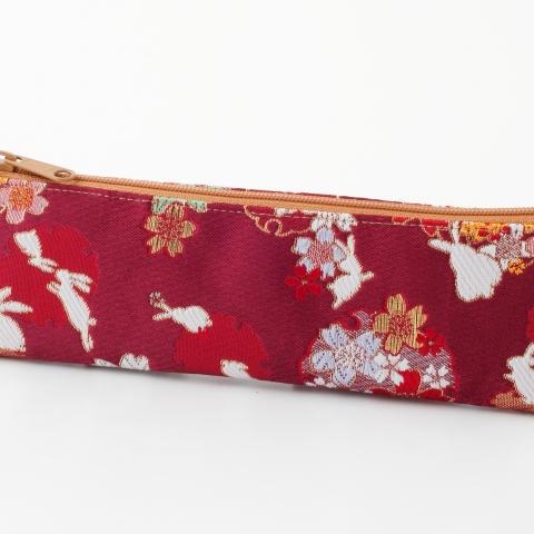 金襴ペンケース【兎に雪輪桜】