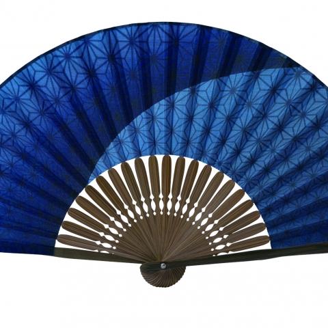 扇子 麻の葉グラデ【紺】扇袋セット 3008S
