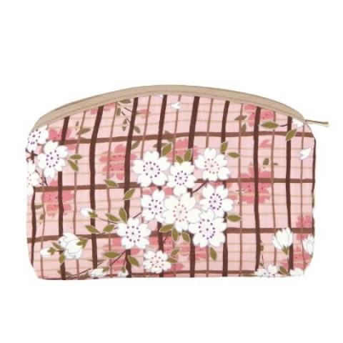 〚桜格子〛化粧ポーチ【ピンク】※クリックポスト利用可