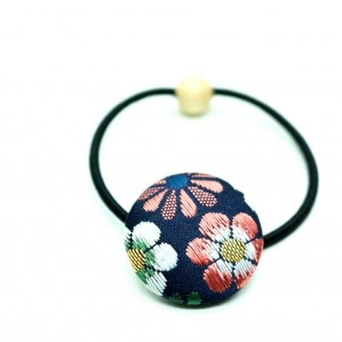 西陣織金襴ヘアゴム【花じゅうたん・紺】※クリックポスト利用可
