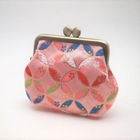 金襴 角型がま口【七宝・ピンク】