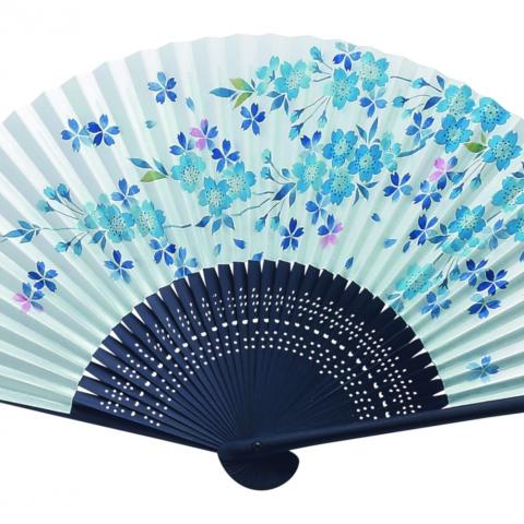 紙扇子 藍 桜 単品 451