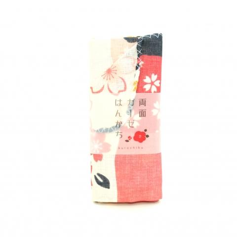両面ガーゼ・ハンカチ【桜と市松】※クリックポスト利用可