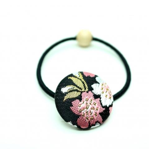 西陣織金襴ヘアゴム【和桜・黒】※クリックポスト利用可