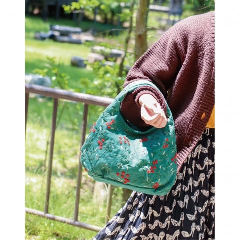ミニ・ラウンドバッグ【南天・深緑】