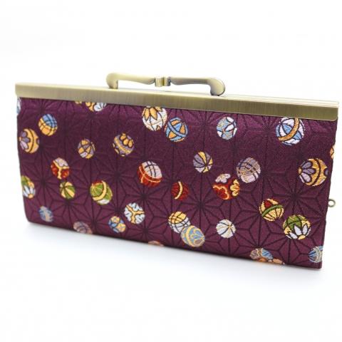 金襴薄型長財布【麻の葉に鞠・古代紫】