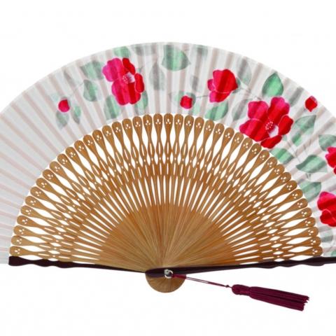 扇子 玉椿【赤】扇袋セット 1251S
