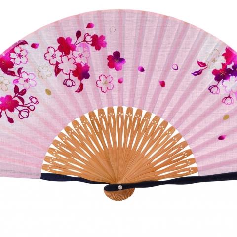 扇子 桜あかり【ピンク】扇袋セット 1014S