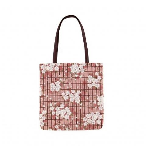 〚桜格子〛A4版マチなしトート【ピンク】