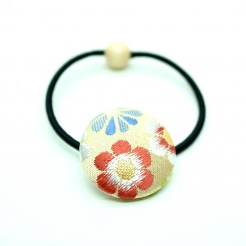 西陣織金襴ヘアゴム【花じゅうたん・白茶】※クリックポスト利用可