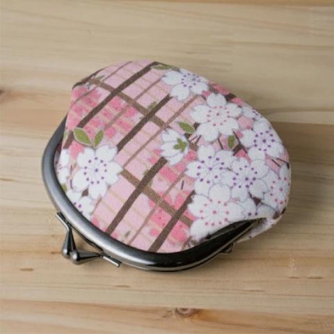 〚桜格子〛がま口小銭ケース【ピンク】※クリックポスト利用可