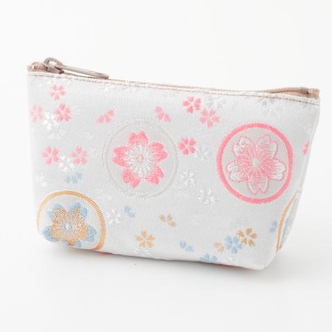 金襴ミニポーチ【桜丸紋・白】