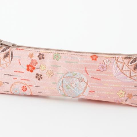 金襴ペンケース【雨縞に鞠・薄ピンク】